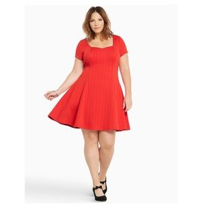 Torrid Red Textured Knit Skater Dress Size 0